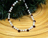 Delicate white freshwater pearl necklace Elegant garnet necklace Genuine gemstone briolette necklace January birthstone Office jewelry