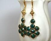 Genuine EMERALD earrings Gold chandelier earrings Big earrings Emerald drop earrings Gold dangle cluster earrings Emerald gemstone jewelry