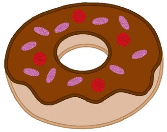 Doughnut With Sprinkles Digitized Applique Design For Embroidery Machines- Instant Download
