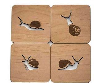 Snails - Laser Cut Wood Coasters - Set of 4
