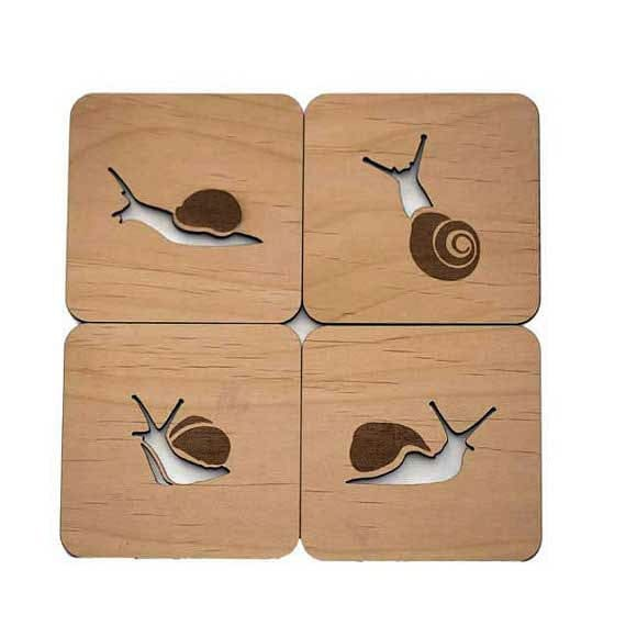Snails - Laser Cut Wood Coasters - Set of 4