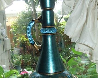 Green Genie Bottle I Dream of Jeannie Hand Painted Original Jim Beam Whisky Glass Bottle Decanter OOAK Gift