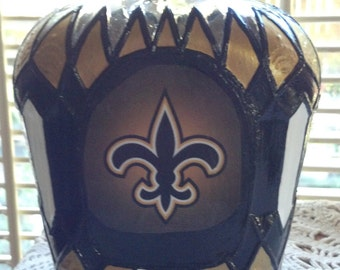 New Orleans Saints Crown Royal Glass Decanter Bottle/Hand Painted Rare /OOAK Gift