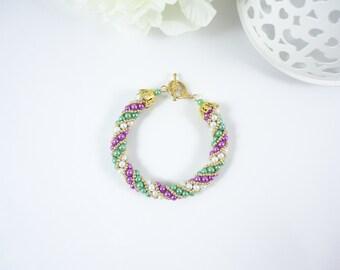 Yaroslavl Bracelet - Russian Spiral - Green Purple White Gold