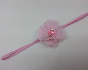 Christmas Headband, Pink Petal Chiffon Beaded Flower on a Headband, Infant to Adult