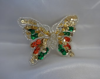 Vintage Butterfly Figural Brooch Sparkling Sequins Shiny Beads Pearls Fun Colorful Festive Jewelry