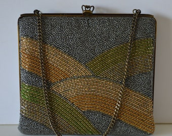 Silvery grey and gold beaded evening handbag,1970s vintage Japanese clutch purse