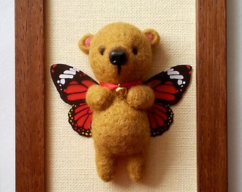 Teddy butterfly in wooden frame beige colour