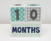 READY TO SHIP - Baby Month Age Blocks - Weeks Months Years Grade - Baby Boy