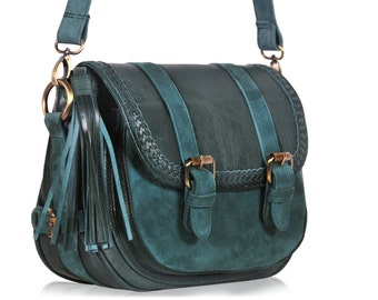 EVERMORE SMALL. Dark green leather bag /  leather satchel bag / small messenger bag / leather purse. Available in different leather color