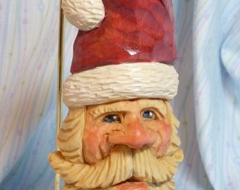 Hand Carved Santa Claus Decoration