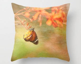 Decorative Pillow  Monarch Butterfly  Botanical Print  Accent Pillow  Sofa Throw Pillow  Romantic Nature Inspired Home Decor