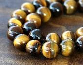 A Grade Tiger Eye Beads, Honey Yellow, 10mm Smooth Round - 15 Inch Strand - eGR-TE004-10