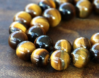 A Grade Tiger Eye Beads, Honey Yellow, 10mm Smooth Round - 15 Inch Strand - eGR-TE004-10