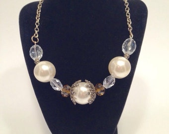 Bronze and off white pearl beaded necklace