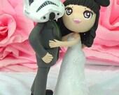 Star War wedding cake topper clay doll, star war Trooper groom and Minnie bride clay figurine, engagement clay miniature decor, ring holder