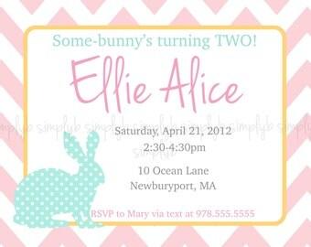 "Printable ""Some-Bunny"" Birthday Party invitation"