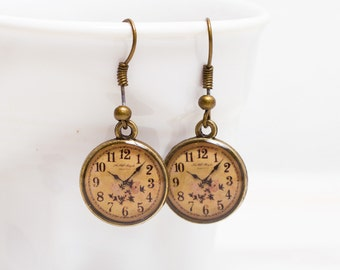 Brass Clock Earrings, Antique map Earrings, Art Noveau gift, Brass earrings, for her  3/4 inch (16mm)