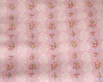 Flowers and Lace Pink Cotton Fabric, Fabric By The Yard, Pink Floral Cotton Fabric, Pink and White Fabric