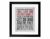 Unconditionally by Katy Perry | Song Lyric Digital Printable - Instant Download