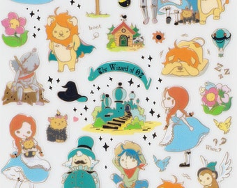 Korean Scrapbook Gold Foil Transparent Stickers - The Wizard of OZ (STNO05030)