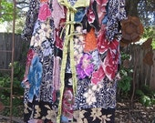 ENGLISH GARDEN KIMONO Lagenlook Gypsy Upcycled Handmade Shabby Tunic, Hand embroidered Dress, Plus Sz Maternity Eco-Top, Hippie Cottage Chic