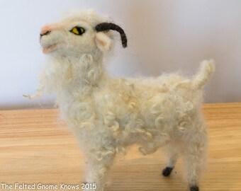 Needle Felted Angora Goat