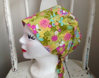 Scrub Hat Tie Back Pixie Style Floral Print