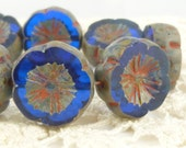 Blue Sapphire Pansy, Hawaiian Flowers, 15mm Chunky Carved Flat Czech Glass Flower Beads (10) 0255/FLH