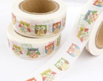Multicolor Owls Washi Tape - W1424