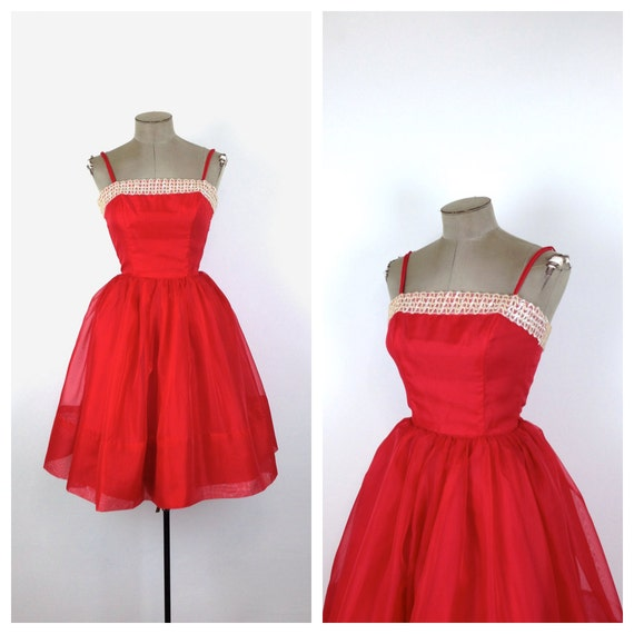 60s Red Fit And Flare Party Dress 1960s By Motherofvintage