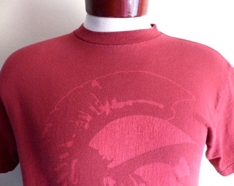 Go Trojans vintage 90's USC University of Southern California NCAA college football sports graphic t-shirt cardinal red crew neck tee small
