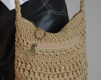 Knit Handmade Ethno Hippie Vintage Small Crochet Purse, ON SALE