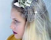 Bridal Flower Headpiece , Wedding  Flower With Veil,  Floral Headpiece
