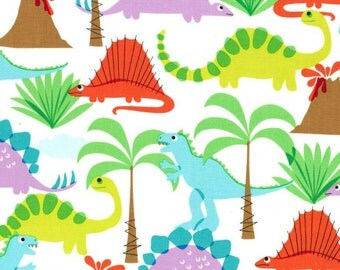 Fat Quarter Land of the Lost Dinosaur Cotton Quilting Fabric - Michael Miller