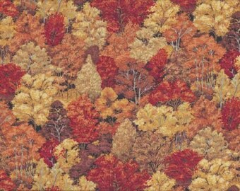 Fat Quarter Autumnal Forest Woodland Trees Cotton Quilting Fabric-Makower 1353N