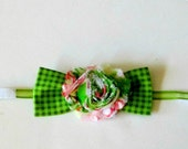 Bow Tie for Pets, Small Dog/Cat Green Gingham with Green & Coral Shabby Chic Trim and Sheer Ribbon Neck Straps - Fastens with Velcro