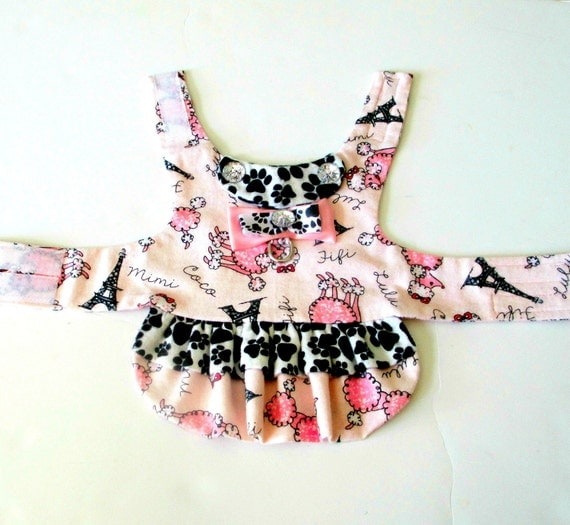 "Made to Order Small Dogs Flannel Dress ""Juicy"" - French Poodle/Eiffel Tower (Ooh La La!) and Paw Prints, Pink, Black and White Yorkie"