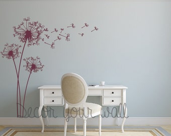 Dandelion Wall Decal. Wall Sticker. Removable