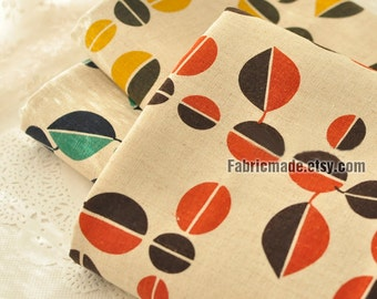 Leaves Linen Cotton Fabric Beige Cotton Linen Fabric With Green Orange Yellow Leaf- 1/2 Yard