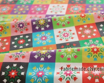 "Tulip Flower Linen Blended Fabric, Square Plaid Patchwork Fabric, Tulip Festival Patch Linen Shabby Chic - 22""x57"""