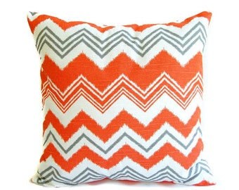 "Throw pillow cover one 20"" x 20"" orange white and gray grey Zazzle Chili Pepper orange pillow cover orange cushion cover orange pillow"