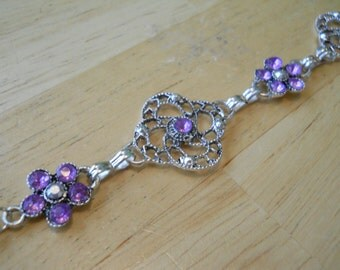 Silver Lacy Look Link Bracelet with Lavender Rhinestones
