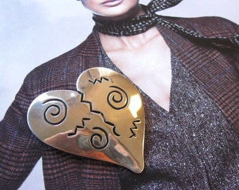 Vintage Sterling Silver Heart Brooch, 925 silver, Jewelry, Women's Accessory, Artist Signed pendent, Valentine gift