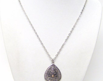 Silver Plated Accent Tear Drop Pendant Necklace