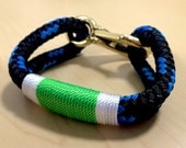 Black with Blue Chaser Rope Bracelet with Bright Green and White Wrap and Bronze Clasp