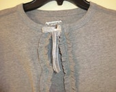 Ladies Ruffle Tshirt Sweater Cardigan SIZE XL