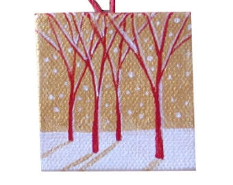 Red Tree Winter Miniature Landscape Painting, Hostess Gift, Winter Miniature, Red Tree Landscape