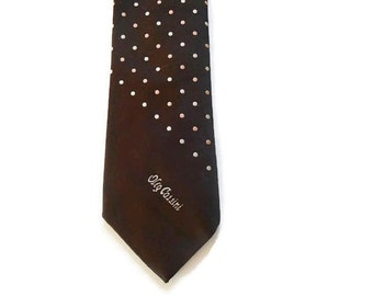Oleg Cassini Tie - Logo Tie - Dark Brown With Pink And White Polka Dots - Polka Dot Tie - Brown Tie - Hughes and Hatcher - Narrow Ties