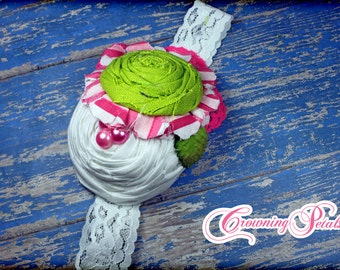 Hot Pink, Lime Green Headband, Flower Hair Bow, Flower Hair Accessory, Bubble Gum Pink, White Hair Clip, Flower Hair Piece, Light Pink